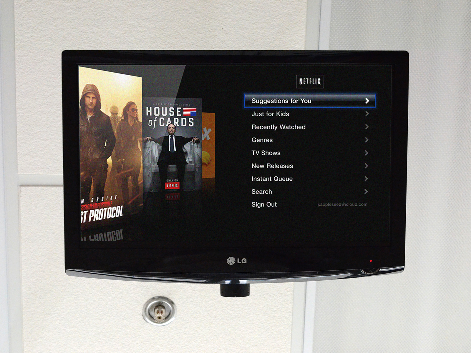 Netflix on a ceiling mounted TV